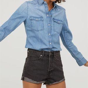 Tops - HM denim jeans button shirt long sleeves light